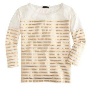 J. Crew Gold Metallic Stripe 3/4 Sleeve T-shirt
